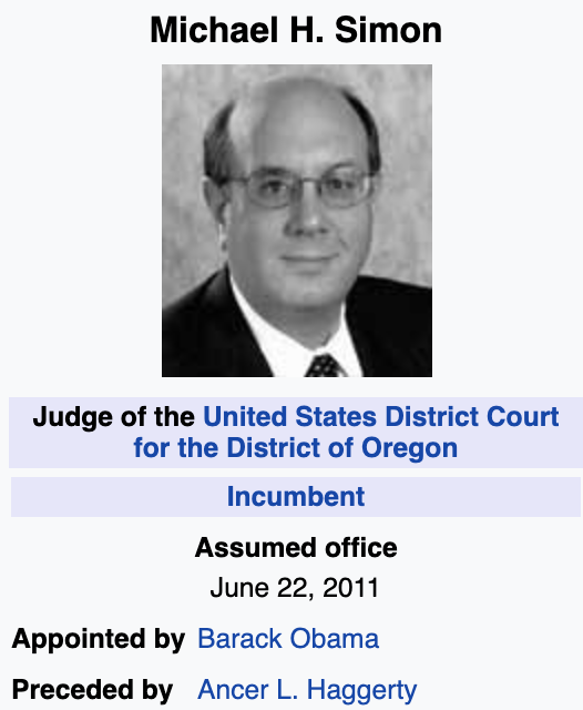 Image result for Michael Simon, an Oregon federal judge