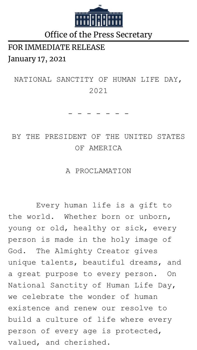 """BREAKING: Trump issues statement proclaiming Jan 22nd """"National Sanctity of Human Life Day"""""""