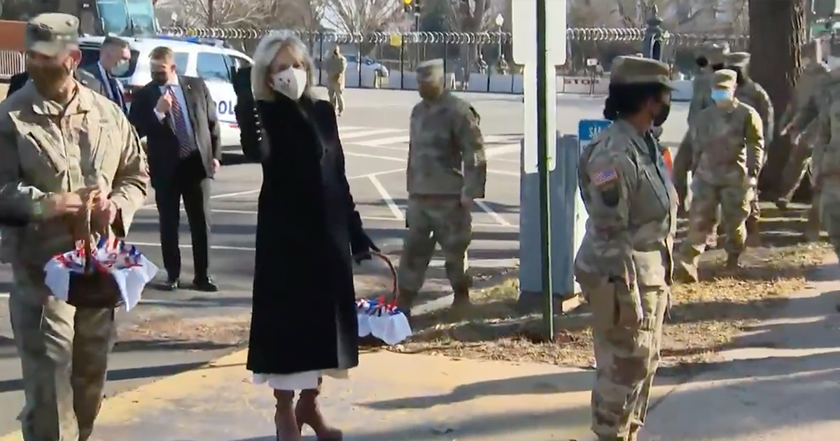 """WATCH: Jill Biden visits National Guard troops, says """"The White House baked you some chocolate chip cookies"""""""